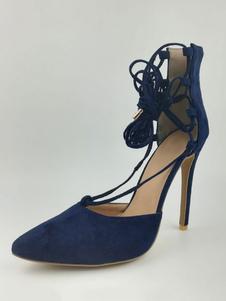 Обувь Nubuck для женщин плюс размер Указанный палец Strappy Tie Leg Stiletto Dark Navy High Heels