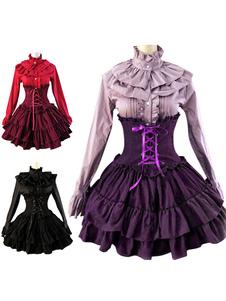 Vestido de Rendas curta de Lolita clássico cintura alta até babados