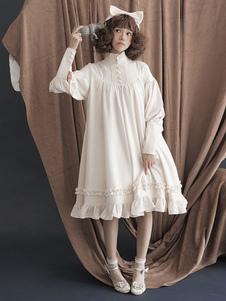 Vestido Lolita de Mangas Festa de Chá com mangas compridas de algodão doce cor sólida conjunto branco escuro