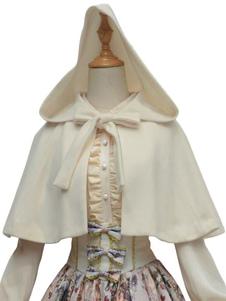 Poncho Lolita Clásico Blanco Sintético Otoño Lolita Outwears
