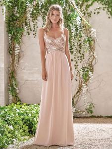 Платье невесты Холтер шеи линия Длина пола молния блесток шифон свадебное платье