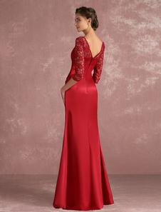 Бордовый мать невесты платье Русалка кружева локтя вечернее платье иллюзия атласная этаж Длина формальных платье