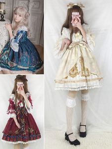 Vestido Lolita de Mangas Festa de Chá com mangas de 1/2 de gaze clássico & tradicional estampado