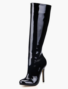 Bright Black High Knee boots Women's Patent Leather Round Toe Zip Up heels office Winter Boots