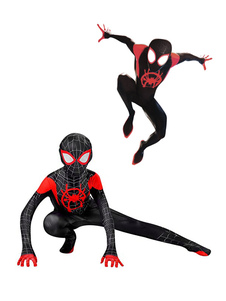 Kids Black Spiderman into the spider verse Lycra Spandex Fabric Unisex Zentai Suit Costumi per tutto il corpo