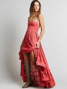 Vestido largo rosa  Moda Mujer de rayón con volante fruncido Vestidos en capas Vestidos bohemios con tirantes estilo bohemio Verano