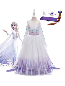 Frozen 2 Elsa Dress Costume Cosplay per bambini con accessori Cosplay
