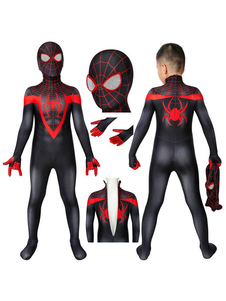 Marvel Comics Kids PS5 2021 Spider Man Miles Morales Zentai Jumpsuit Costume Cosplay