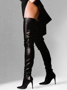 Black Leather Thigh High Boots 2021 Pointed Toe Over The Knee Boots US 6-12