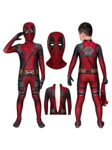 Marvel Comics Deadpool Jumpsuit Kid Zentai Cosplay Costume Carnival