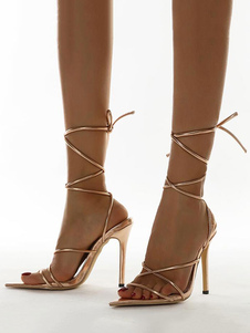 Womens Heel Sandals Blond PU Leather Stiletto Heel Open Toe Lace Up Heel Sandals