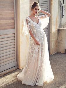 Vestido de noiva de renda branca com decote em V Vestido de noiva com mangas curtas sem costas vestidos de noiva