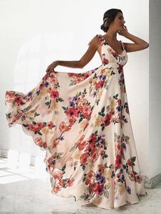 Robes Longues Bohèmes Femmes Imprimés les Fleurs avec Bretelles à Lacets à Col Rond Coupe Cintrée Bas Evasée avec Dos Nu