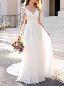 Robe mariée 2021 col V manche longue transparent en dentelle dos nu à traîne Robe de mariée