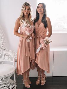 Robe de demoiselle d\'honneur courte rose col en V fermeture éclair en mousseline de soie robe de mariage