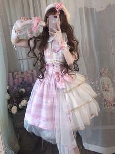 甘いロリータJSKドレスアイドル宣言弓ピンクロリータジャンパースカート