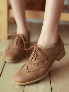 Women's Brown Lace Up Wingtip Brogues Casual Oxfords