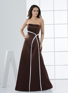 Платье для свидетельницы A-силуэт без бретелек шоколаного цвета до пола из атласа