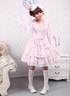 Розовое Лолита платье OP длинные Hime рукава белый кружевной отделкой бантом