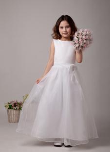 Белые Цветочницы Платья Линия Дети Луки Пояса Бато Шеи Длина Лодыжки Первое Причастие