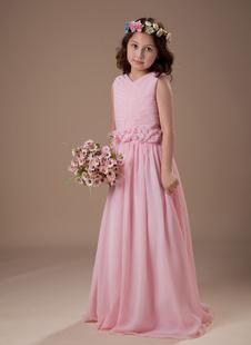 Платье для девочек с цветами с V-декольте до пола из шифона