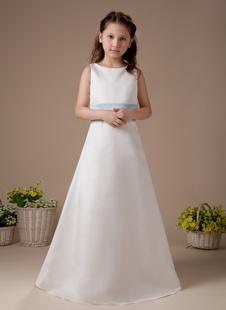 Платье для девочек с цветами с круглым вырезом до пола из атласа