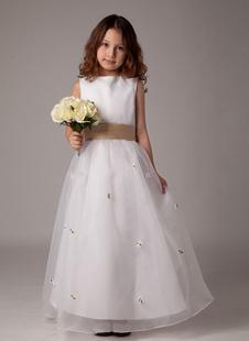 Платье для девочек с цветами с круглым вырезом белое по щиколотку из атласа с цветком