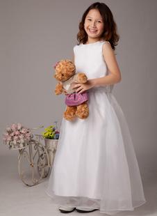 Платье для девочек с цветами с круглым вырезом белое по щиколотку из атласа с поясом