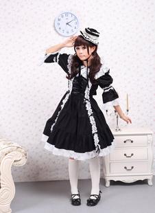 Хлопок черные длинные рукава Классическая Лолита платье