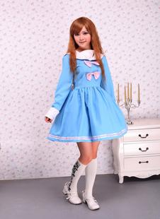 Robe lolita en coton bleu avec nœuds à manche longue  Déguisements Halloween