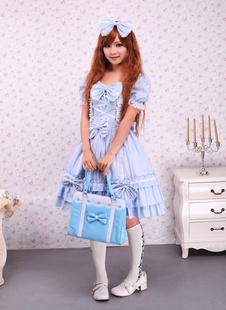 Bleu ciel coton Lolita OP robe et Cape avec des arcs et des volants Déguisements Halloween