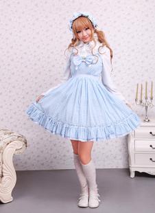 Abito azzurro dolce di Lolita con bretelle in cotone