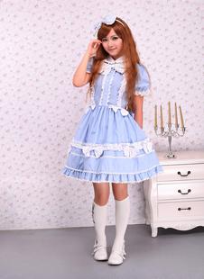 Robe de lolita douce Coton Noeud Manches Courtes Coton Bleue Claire  Déguisements Halloween