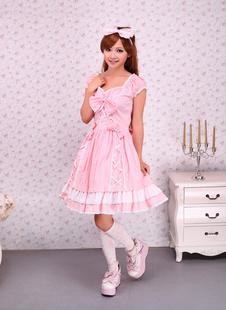 Robe de lolita douce rose en Coton avec Ornement de nœuds Déguisements Halloween