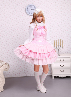 Cotton Pink Lace Front Ties Bow Sweet Lolita Dress