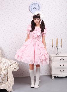 Сладкое розовое Лолита платье OP короткими рукавами оборками дизайн