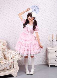 Хлопок розового кружева Сладкая Лолита платье
