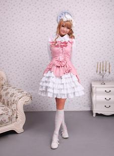 Sweet Pink White Cotton Lolita Jumper Skirt Lace Up Layered Ruffles Bows