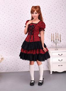 Coton Vichy noir rouge Loltia OP robe manches courtes lacent vers le haut Déguisements Halloween