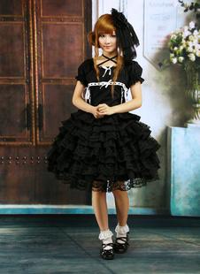 Noir Lolita OP robe manches courtes avec des volants et Galons dentelle Déguisements Halloween