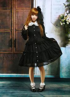 Lolita de coton noir OP robe manches longues ronde collier dentelle Déguisements Halloween
