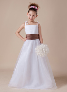 Платье для девочек с цветами с квадратным вырезом белое до пола из атласа