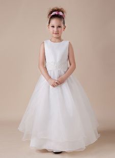 Платье для девочек с цветами с круглым вырезом белое по щиколотку из атласа