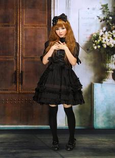 Toussaint Cospaly Costume Lolita Robe noire Lolita manches courtes dentelle garniture bandoulières Déguisements Halloween