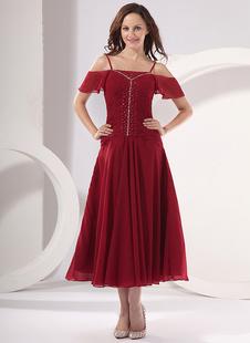 Brautmutterkleider A-Linie- Abendkleider für Hochzeit Chiffon Günstige Abendkleider Burgunderrot  Hochzeit mit Carmenausschnitt knöchellang