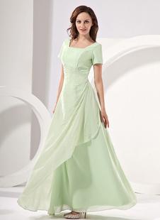 Brautmutterkleider A-Linie- Abendkleider für Hochzeit Pastellgrün Kleider für Hochzeitsgäste Chiffon viereckiger Ausschnitt Hochzeit bodenlang