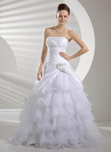 A-Linie-Brautkleid mit Pailletten in Weiß