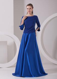 Очаровательный Королевский синий Трапеция Бато шеи половина рукава молния Упругие Тканые атласная моды платье для матери невесты