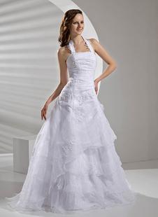 A-Linie-Brautkleid aus Organza in Weiß