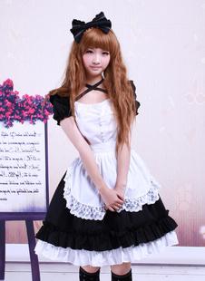 Sweet Black Cotton Maid Lolita One-piece White Apron Short Sleeves Lace Trim